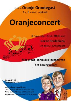 Poster voor het Oranjeconcert in 2014